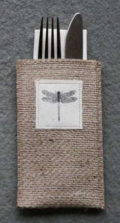 Dragonfly Burlap Silverware Pouch - Set of 8 - Cutlery Couture