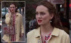 Blair's yellow coat and floral bag on Gossip Girl.  Outfit Details: http://wornontv.net/7330/ #GossipGirl