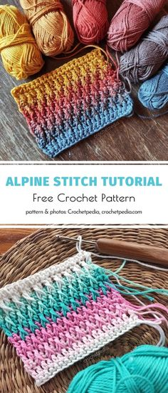 We will never get enough of beautiful patterns written by the author of Crochetpedia! This site is a real treasury for people who love discovering new techniques and learning about the art of crocheting. Are you one of them? We know you are! #freecrochetpattern #alpinestitch Crotchet Stitches, Crochet Stitches For Blankets, Afghan Crochet Patterns, Crochet Yarn, Free Crochet, Crochet Edgings, Crochet Afghans, Beginner Crochet Projects, Crochet Tutorials