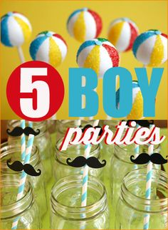 5 Boy Parties.  Use these great ideas to plan your little boys next birthday bash.  Perfect for a boy baby shower or baby's 1st birthday.