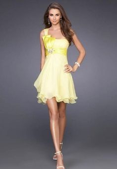 #BacktoSchool: Chiffon A-line Short Dress with Beaded Half Bowknot #yellow