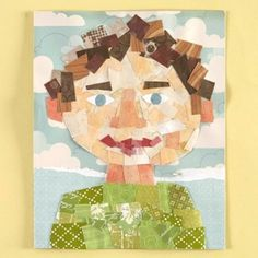 Self-Portrait Collage with paper scraps . - Self-Portrait Collage with paper scraps – great idea to clean out bits and pieces of patterned pa - Collage Kunst, Collage Art, Collage Ideas, Collage Portrait, Portraits, Kids Collage, Mosaic Portrait, Portrait Ideas, Kids Crafts