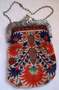 Exquisite Antique Victorian Micro Beaded Purse, Bag, Cherubs and Flowers, 1880