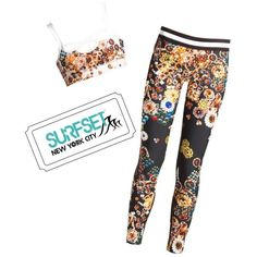 Cynthia Rowley Cr Jewel Print Set + Surf Set Pass ($310) ❤ liked on Polyvore featuring athletic wear, dark jewel, leggings and cynthia rowley