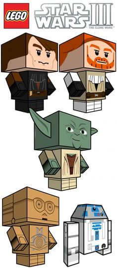 For the nerd in me - star wars papercraft toys. Each toy is designed to be printed on a standard piece of 8 X 11 letter paper. Simply print, cut and fold your model into a cute and fun paper toy. Lego Star Wars, Star Wars Day, Anniversaire Star Wars, Printable Star, Printable Crafts, Printable Paper, Free Printables, Star Wars Crafts, Paper Toy