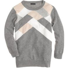 J.Crew Collection cashmere abstract argyle sweater ($150) ❤ liked on Polyvore featuring tops, sweaters, three quarter sleeve tops, graphic tops, cashmere sweater, argyle sweater and j crew tops