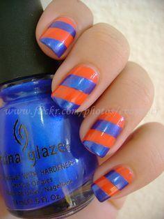 orange blue nailart