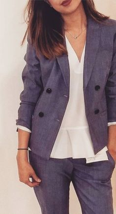 The perfect power suit: our Chambray Lightweight Wool Blazer paired with our new Logan trousers. Worn by Vanna from our Bloor Street store.