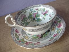 antique tea cup and saucer set, Aysnley English bone china, pink flowers, indian tree. $49.00, via Etsy.