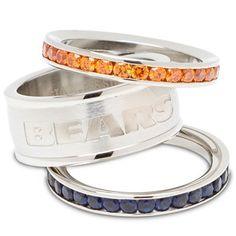 Logo Art Chicago Bears Ladies Spirit Crystal Stacked Ring Set
