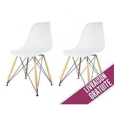 earlybird savings lot de 4 chaises,blanche: amazon.fr: cuisine ... - Chaise Blanche Pied En Bois