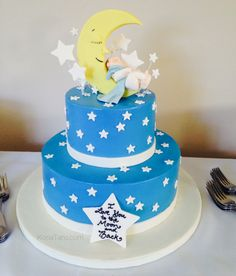 """""""I love you to the moon and back"""" baby shower theme cake! How precious is this? When I saw it, my heart exploded! :-)  #itsaboy #stars #moon KonaTans.com"""