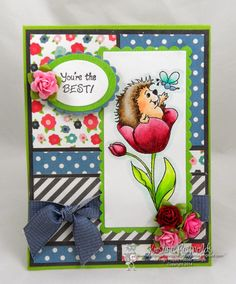 """High Hopes Stamps """"you're the Best"""" by Kristine using """"Hedgy In Tulip"""" High Hopes, You're Awesome, Cute Cards, The Best, Paper Crafts, Scrapbook, Seasons, Create, Tulip"""