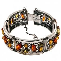 Sterling Silver Multicolored Amber Antique Look Link Bracelet 7 Inches