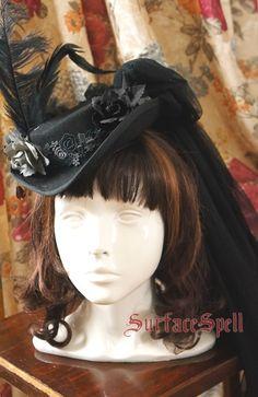 Surface Spell Lady in Black Vintage Wool Hat $42.99-Lolita Headdress - My Lolita Dress