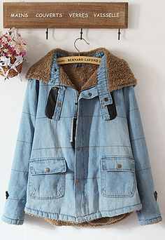 Price:$49.99 Material: Cotton Color: Light Blue Neutral Casual Preppy Individualized Loose Thicken Hooded Frock Denim Jacket