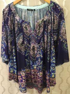 3d47b5d22eb Womens Plus Size 1X Printed Peasant Top Boho Shirt Hippie Boho Embelished