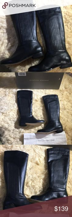 Cynthia Vincent Hamilton Black Leather Riding Boot Cynthia Vincent  Hamilton  Black Leather Riding Boots  Size 8M New with box and dust bag  Pull On  RidingBoots Equestrianboots Leatherboots Cynthia Vincent Shoes Combat & Moto Boots