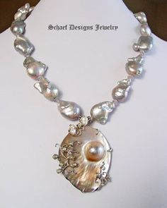 Schaef Designs Nucleated freshwater pearl, scorolite, & sterling silver necklace with Mabe pearl pendant | New Mexico