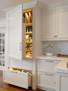 illuminated kitchen pantry cupboards