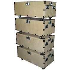 "48"" Crate Style Trunk Cases - 1/2"" Ply Heavy Duty w/Wheels - 4 Pc Stacking Set - USA Road Cases"