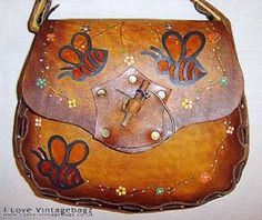Vintage Brown Tan Leather Tooled Satchel Saddle Shoulder Bag Bees Flowers Boho