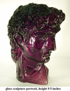 Glass sculpture portrait of a young man like David