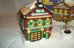 Christmas Village Firehouse Collectible by Castawayacres on Etsy