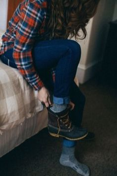 jeans, boots, and plaid...yes, please