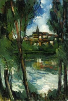 Landscape from beyond the River - Maurice de Vlaminck Completion Date: 1920 Style: Post-Impressionism Genre: landscape Technique: oil Material: canvas Dimensions: 55 x 38.1 cm Gallery: Private Collection