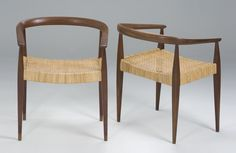 Nanna Ditzel | Teak and cane chairs produced by Kold Savværk in the 1950's.