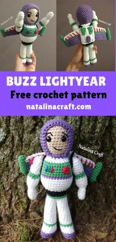 Crochet Buzz Lightyear : Crochet Buzz Lightyear Find here a free pattern for doll inspired by buzz lightyear! This crochet buzz lightyear will make all the children happy! Crochet Applique Patterns Free, Doll Patterns Free, Crochet Disney, Crochet Amigurumi Free Patterns, Crochet Animal Patterns, Crochet Blanket Patterns, Free Crochet, Hat Patterns, Crochet Baby