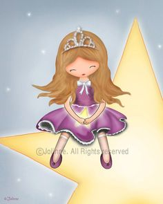 Princess wall art print kids room decor nursery wall by jolinne