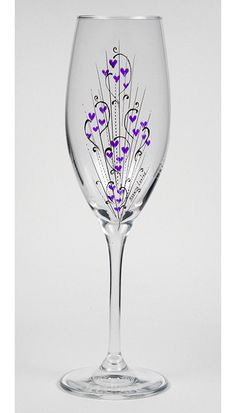 crystal hand painted champagne flute | Crystal Flute-Hearts