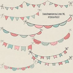 Hand Drawn Bunting Clipart, Doodle bunting clipart - Scrapbook embellish- Invitation-Blog Graphics-Photography- Personal and Commercial Use