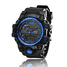 AD1606 OHSEN Mens Analog Digital Dual Timezone Stainless Steel Quartz Wrist Watch in Blue -- Learn more by visiting the image link.Note:It is affiliate link to Amazon.