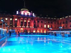 Somerset House 14 November 2013 to 5 January 2014  Somerset House boasts one of the best festive treats under the beautiful setting of Somerset House.  Set in the courtyard, with something for everyone. Learn to skate with the penguin club, or add chocolate and champagne to your session.  If skating isn't your forte you can enjoy a drink at the ring side bar, or shop at the premier pop-up mall.  Tickets are from £12.20
