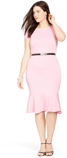 Plus Size Belted Peplum Dress