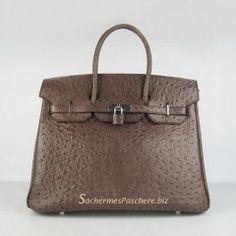 Sacs Hermès Pas Cher Birkin 35cm Ostrich Veins Sac Café Clair 6089