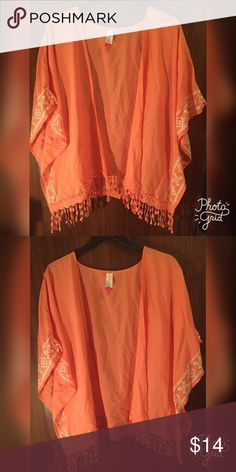 Peach/Orange Cardigan/Corverup Color is a deep peach color almost orange, can be wore a a swimsuit corner up, or a cardigan how ever you would like. Sizesays M but WILL FIT XS-XL. More like a one size !!! Perfect condition not trading !! ❤️❤️ Tops