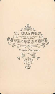 Connon, T. of Elora, CDV - back by snap-happy1, via Flickr