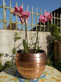 BIG Vintage French Copper Flower Planter..  by AngelFrenchAntiques