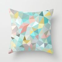 Throw Pillows featuring Pastel Tris by Beth Thompson
