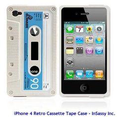 iPhone 4 / 4G White Silicone Cassette Tape Case / Skin / Cover