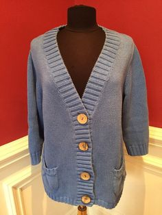 Chicos Blue 3/4 Sleeve Cardigan With Coconut Shell Buttons Size 2  | eBay