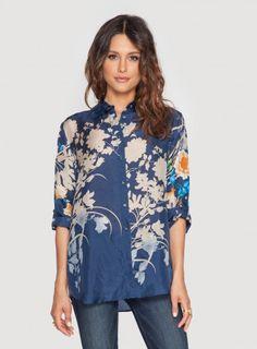 WEB EXCLUSIVE Johnny Was Printed Silk Nancy Button Down Shirt #bohochic #newin #johnnywas