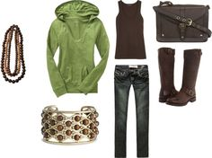 """Brown and Green"" by korie243 ❤ liked on Polyvore"