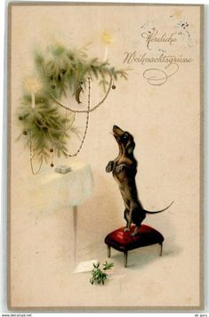 """vintage German """"Many congratulation with the New Year"""" card Vintage Greeting Cards, Vintage Christmas Cards, Christmas Images, Vintage Holiday, Christmas Art, Vintage Postcards, Christmas Holidays, Vintage Dachshund, Dachshund Love"""