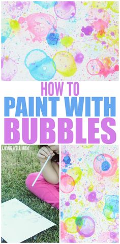 Painting Art for Kids {Fun, Easy Activity Tired of blowing bubbles? Here's how to paint with bubbles - a fun, easy activity that kids AND moms love! It's quick and easy to make and there's plenty of room for imagination as kids make creative pictures. Summer Crafts For Kids, Projects For Kids, Diy For Kids, Kids Fun, Easy Kids Crafts, Kids Paint Crafts, Easy Arts And Crafts, Summer Ideas Kids, Crafts For Camp