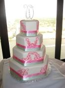 Sage Green, Hot Pink and Ivory Hexagon Wedding Cake